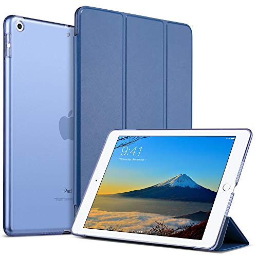 ULAK iPad 2017/2018 iPad 9.7 inch Case, iPad Magnetic Cover 9.7, PU Leather Trifold Stand Smart Case Auto Sleep Wake Transparent Hard Back Cover for iPad 9.7 inch 5th 6th Gen, Navy Blue