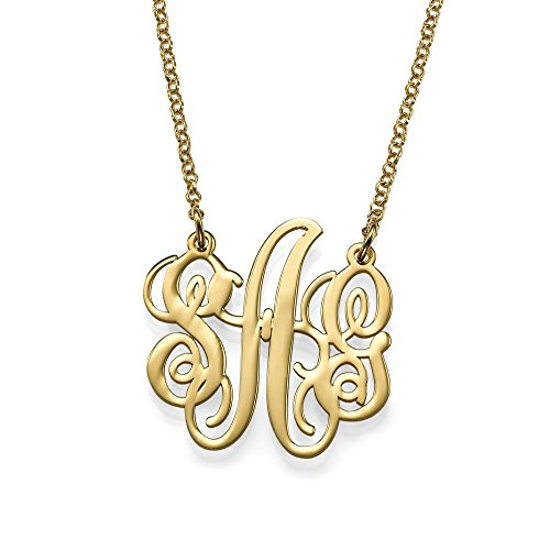Fancy Personalized Monogram Necklace - Custom Made Pendant with Any Initial-Jewelry for Her (18, gold-plated-silver) -
