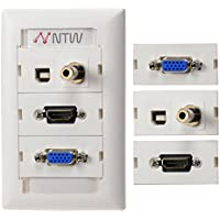 NTW Customizable Unimedia Wall Plate with personizable ID tag - HDMI pigtail, VGA, 3.5MM AUDIO AND USB PASS THROUGH - 3UNC-V35TUBHP