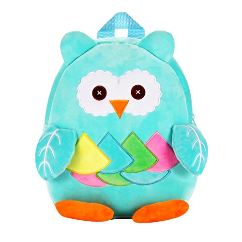 Nice Choice Cute Toddler Backpack Toddler Bag Plush Animal Cartoon Mini Travel Bag for Baby Girl Boy 1-6 Years (Owl Blue) -