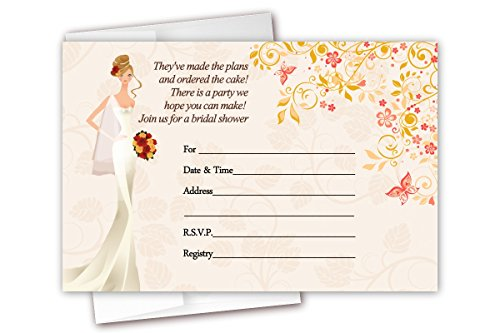 Leaves Fall Invitation Wedding (Fall Autumn Bridal Shower Invitations 20 Count & Envelopes)