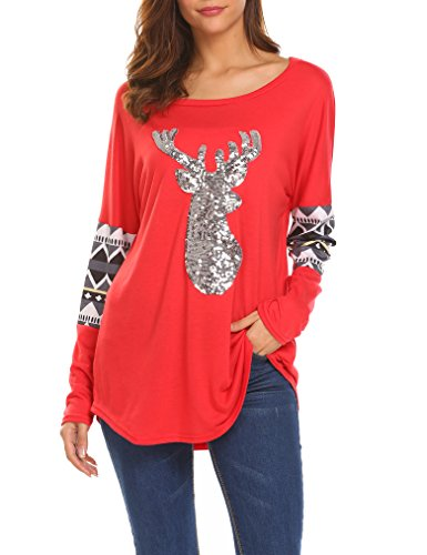 Qearal Womens Casual Long Sleeve Christmas Reindeer Sequin T Shirt Blouse Tops (US 4-6) Small, Red