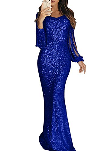 (Elapsy Womens Sequin Fringe Tassel Long Sleeve Luxurious Homecoming Party Cocktail Long Maxi Dress Evening Gown Blue X-Large)