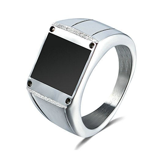 Aooaz Jewelry Band For Men Stainless Steel Square Shaped Finger Ring Silver Us Size 12 by Aooaz