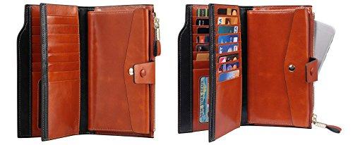 Travelambo Womens RFID Blocking Large Capacity Luxury Waxed Genuine Leather Clutch Wallet Multi Card Organizer (tan) by Travelambo (Image #3)