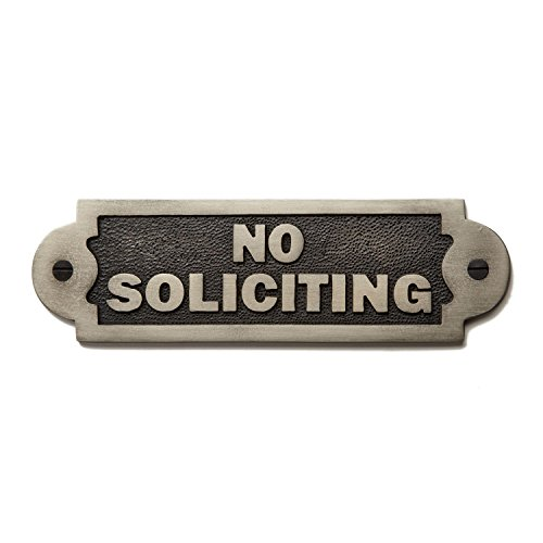 "Naiture Solid Brass ""No Soliciting"" Sign In Antique Nickel Finish"