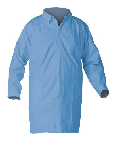 Kimberly-Clark KleenGuard A65 Fabric Lab Coat with Hook and Loop Closure, 2X-Large, Blue (Pack of 25)