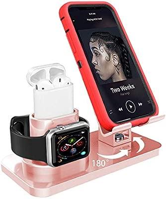 Soporte de Carga 3 en 1 para Apple Watch iPhone AirPods Soporte,iWatch Soporte Stand,Cargador Dock Soporte Docking Estación de Carga Station Soporte ...