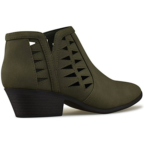 Khaki Heel Bootie Stacked Premier Perforated Cutout Standard Women's Chunky Ankle Boots Block ww6HZq