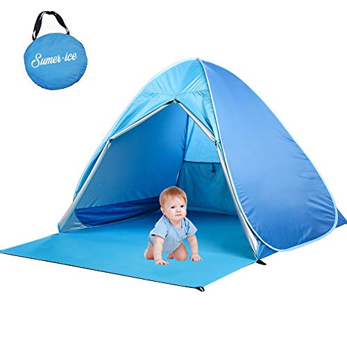 Pop Up Baby Beach Tent Easy Portable Sun Shelter UV Protection Cabana Automatic Canopy Shade Tents for Family with Carry Bag (Blue)
