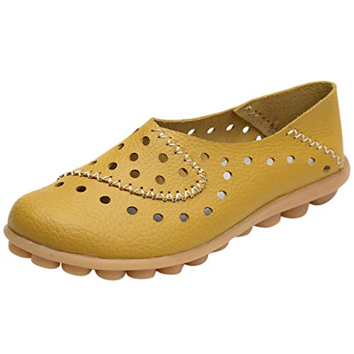 Womens Breathable Flat Shoe,Casual Leather Hollow Out Loafers Comfortable Lightweight Driving Walking Shoes Size 5-9.5 (Yellow, US:9)
