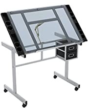 SogesHome Adjustable Drafting Table Drawing Table Art & Craft Drawing Desk Folding Painting Table, with 4 Wheels, with Side Trays and 2 Drawers, NSDCA-CZKLD-028