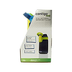 Contigo Kids Autoseal Gizmo Water Bottles, 14oz (Nautical/School boy/ Granny Smith)