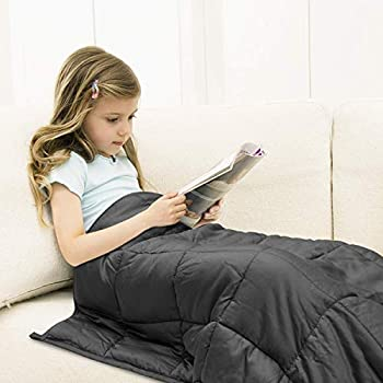 habilife Cooling Weighted Blanket 10 lbs for Kids 41''x60'',100% Natural Bamboo Viscose with Glass Beads,Heavy Blanket(Grey)