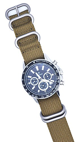 ArtStyle Watch Band with 1.5mm Thickness Quality Nylon Strap and Heavy Duty Brushed Buckle (Khaki, 20mm) Photo #3