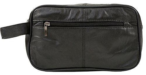 Genuine Real Leather Mens Wash Bag / Gym Bag / Overnight Bag (Black)