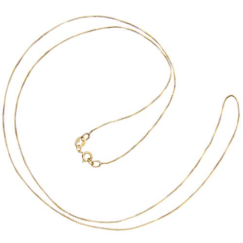 14K Solid Yellow Gold Necklace | Box Link Chain | 22 Inch Length | .60mm Thick | With Gift Box