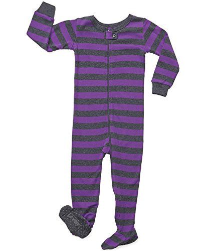 (Leveret Striped Footed Pajama Sleeper 100% Cotton (4 Years, Purple & Grey))