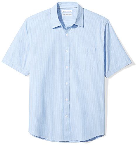 Amazon Essentials Men's Regular-Fit Short-Sleeve Casual Poplin Shirt, blue stripe, X-Large
