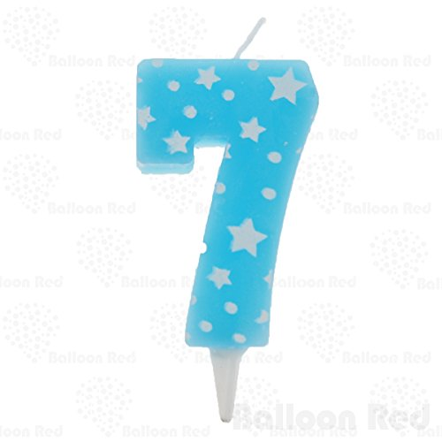 Numerals Birthday Party Cake Candle & Happy Birthday Cake Topper, Blue, Number