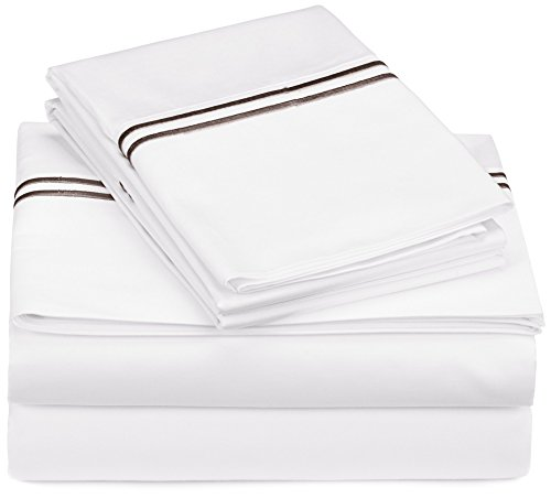 Pinzon 400-Thread-Count Egyptian Cotton Sateen Hotel Stitch Sheet Set - Full, Espresso