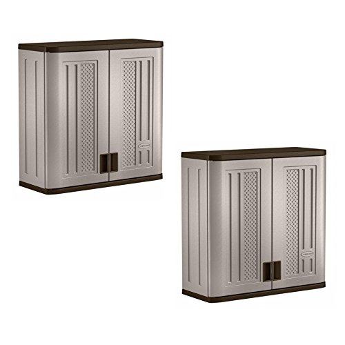 Suncast 4 Cubic Feet Resin Single Shelf Garage Wall Storage Cabinet (2 Pack)