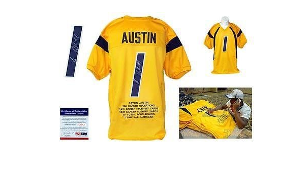 Autographed Tavon Austin Jersey - Gold Stat WVU - PSA/DNA ...