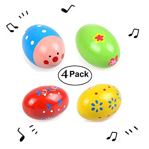 Simuer Egg Shakers, 4 Pack Wooden Percussion Musical Easter Maracas Egg for Halloween Props, Party Favors, Classroom Prize Supplies, Musical Instrument Toys Gift