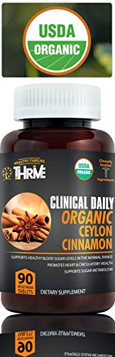 CLINICAL DAILY Organic Ceylon Cinnamon Supplements. USDA Real Ground Cinnamon Powder, Natural TRIPLE ACTION Herb Blood Sugar Craving, Circulation, Anti Inflammatory Antioxidant Support. 90 Veg Tablets