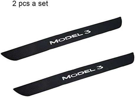Interior Protection Kit Compatible Tesla Model 3 Car Carbon Fiber Rubber Door Sills Wrap Protection Carbon Fiber Stickers