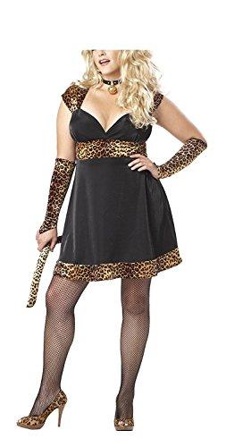 Sims Costume Ideas (BABY-QQ Sexy Sexy Kitty Dress, Black/tan, 1XL (16-18) Costume Black/Tan1XL (16-18))