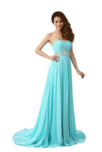 VogueZone009 Womens Sweetheart Chiffon Court Train Formal Dresses with Ruched, Lightblue, 16 by VogueZone009