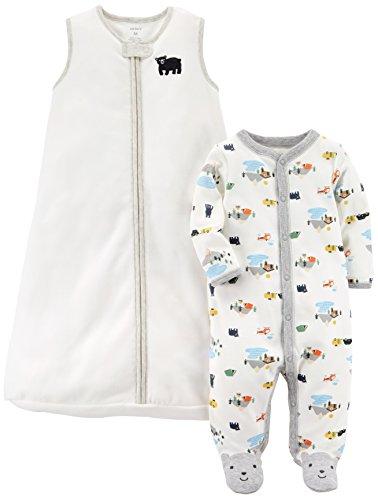 Carter's Baby Boys' 2-Pack Fleece Sleep and Play With Sleepbag, Bear/White, Newborn