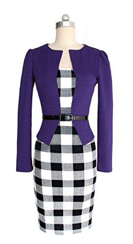 Angcoco Women's Long Sleeve False 2-Piece Plaid Business Bodycon Dress Purple T2Kcy9IT