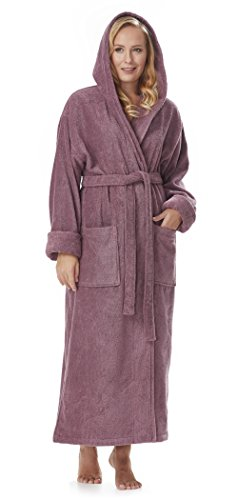 Arus Women's GOTS Certified Organic Cotton Hooded Full Length Turkish Bathrobe, Plum, M