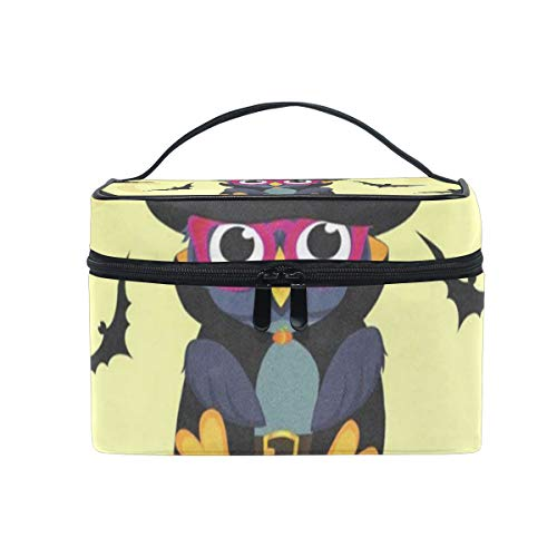 Cosmetic Bag Halloween Owl In Witch Costume Womens Makeup Organizer Girls Toiletry Case Box Lazy Zip Bag]()