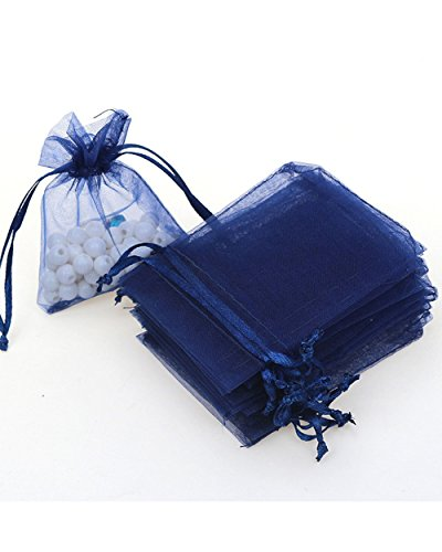 100pc 5×7 Inches Organza Mixed Colors Jewelry Pouch Bags For Wedding Party Dark Navy