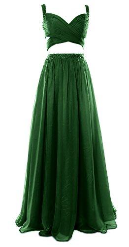 MACloth Women 2 Piece Long Prom Dress Chiffon Sexy Homecoming Party Formal Gown Dunkelgrun 5kLrkCFfxU