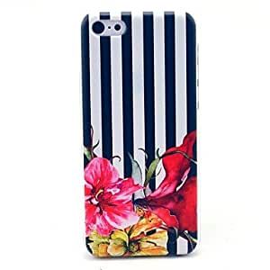 QYF Striped Flower Pattern Hard Cover Case for iPhone 5C