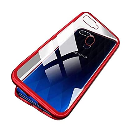 sports shoes 268bf 8ba6b Vodex Magnetic Case for Oppo F9 Pro,Clear Tempered Glass Hard Back Cover  [with Built-in Magnets Metal Bumper Frame],360° Full Protection Ultra Slim  ...
