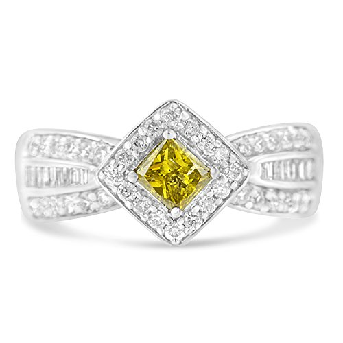 14K White Gold Round, Baguette and Treated Yellow Princess Diamond Tapered Ring (1 cttw, Yellow Color, I1-I2 Clarity) 14k Yellow Tapered Baguette