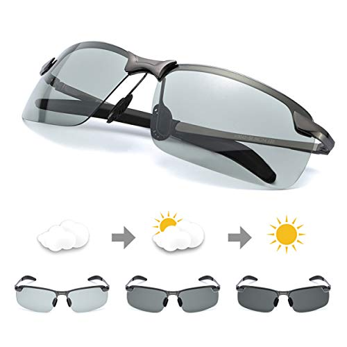 TJUTR Men's Photochromic Sunglasses with Polarized Lens for Outdoor 100% UV Protection,Anti Glare, Reduce Eye Fatigue (Metalgun(Rectangular)/Discolor) (Lentes De Sol)