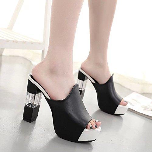 Zapatos de de 35 versátil elegante zapatillas 9 super mujer áspero boca elegante y chica 20 y pescado Negro cool mujer r7wqrxdBS
