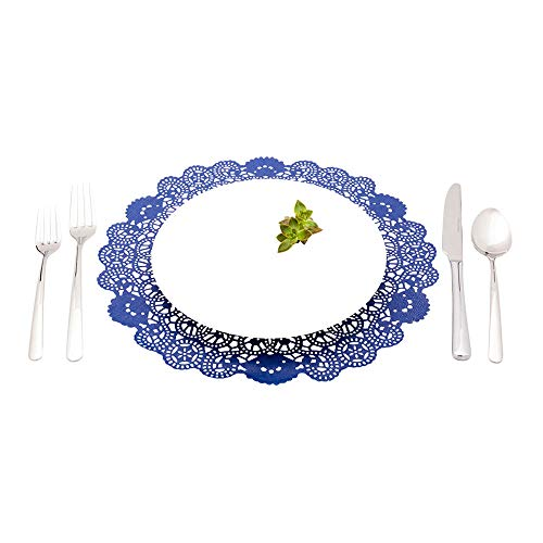 """Disposable Paper Lace Doilies - Navy Blue - Round - Use with Cakes, Desserts, Baked Goods, Weddings, Decoration - 12"""" x 12"""" - 100ct Box - Pastry Tek - Restaurantware"""