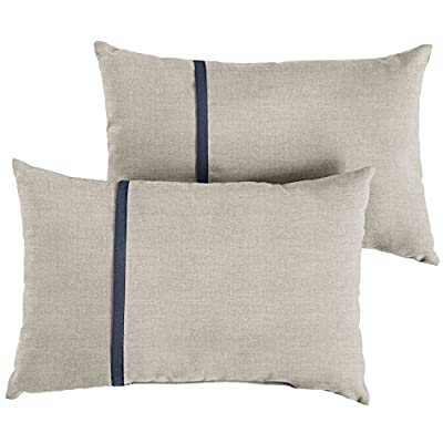 Mozaic AMPS113651 Indoor Outdoor Sunbrella Lumbar Pillows, Set of 2, 12 x 18, Silver Grey & Indigo Navy Blue : Garden & Outdoor