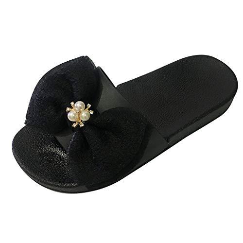 Women Soft Flat Slippers,❤️ FAPIZI Girls Summer Bowknot Crystal Sandals Casual Platform Sliders Bath Beach Slippers Black