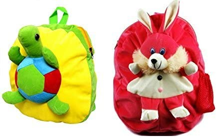 Blue Tree School Bag for Kids/Girls/Boys/Children Plush Soft Bag Backpack Tortoise Rabbit Cartoon Bag Gift for Kids Cartoon Toy Cute Birthday Return Gift/ School Bag/ Travelling Carry Picnic Bag/ Teddy Bag For Children (Yellow pink_3 to 5 Year)