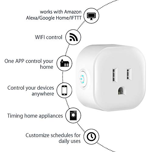 Igreli mini smart plug,Remote Control wifi Outlet with Timing Function and no hub required, Works with Alexa and Google Assistant,- 1 Pack by Igreli (Image #3)