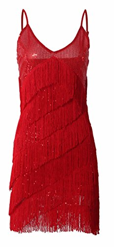 JustinCostume 1920s Sequins Tassel Cocktail Latin Party Dress (Small, Red)