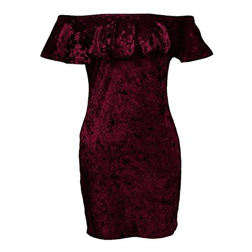 ... Damen Cocktailkleid Kurz Mode Vintage Samt Kleider Festlich Bekleidung  Dresses Sommer Elegant Einfarbig Schulterfrei Wort Kragen ... 4e5f9a558a